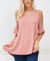 Bellino Mauve Shoulder-Cutout Top