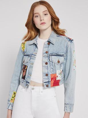 Alice + Olivia Crop Boxy Jacket With Patchwork