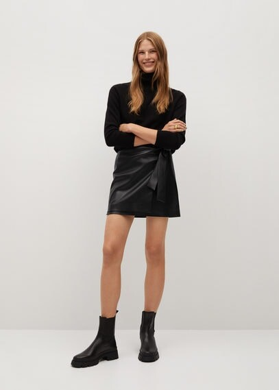 Thumbnail for your product : MANGO Knot leather-effect mini skirt