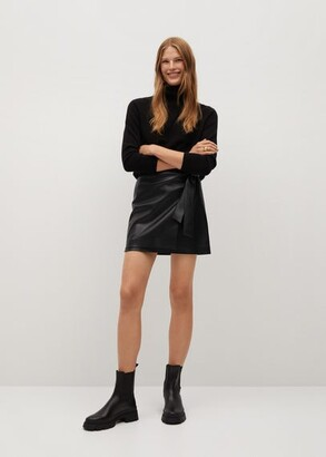 MANGO Knot leather-effect mini skirt