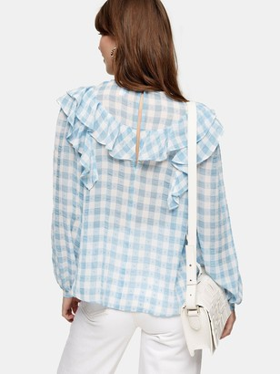 Topshop Gingham Long Sleeve Frill Blouse - Blue