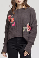 Blu Pepper Floral Embroidery Sweater