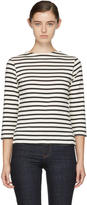 ALEXACHUNG Ecru and Black Long Sleeve Breton Stripe T-Shirt