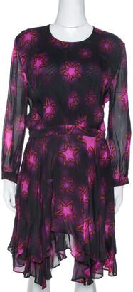 Just Cavalli Fuchsia Chiffon Star Print Flared Dress M