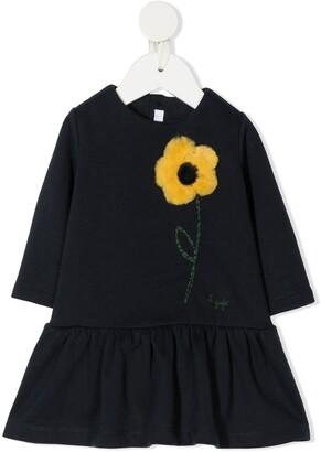 Il Gufo Flower Motif Peplum Dress