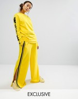 Ellesse Wide Leg Pants With Contrast Satin Side Stripe