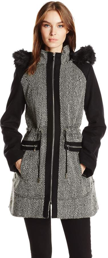 Laundry by Shelli Segal Laundry Women's Tweed Wool Coat with Hood