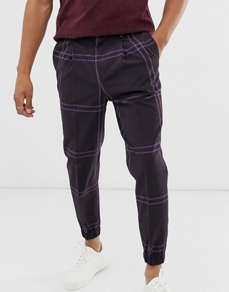 Asos Design DESIGN tapered crop smart trousers in oversized grid check in purple