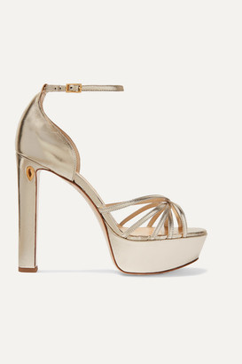 Jennifer Chamandi Roby 130 Metallic Leather Platform Sandals - Gold