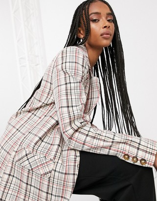 Topshop longline blazer in red check