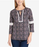 Tommy Hilfiger Cotton Printed Lace-Detail Top, Created for Macy's
