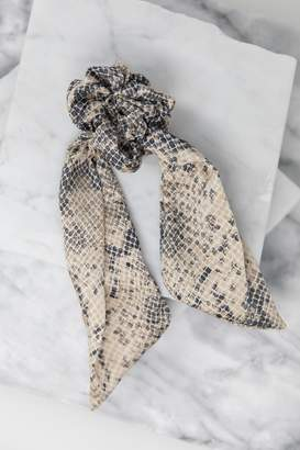 The Mint Julep Boutique Take You Home Beige Snake Scrunchie Scarf