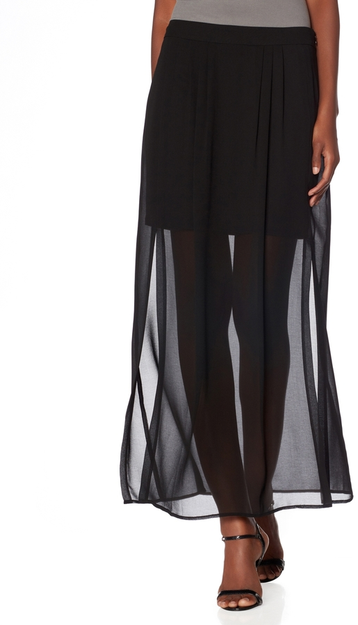 The Limited Sheer Overlay Maxi Skirt
