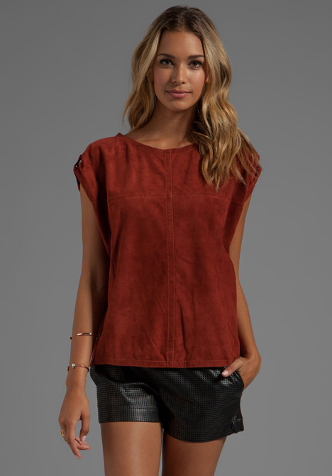 See by Chloe Short Sleeve Suede Round Neck Shirt