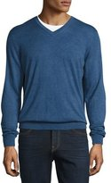 Neiman Marcus Cashmere-Silk V-Neck Sweater, Sapphire Blue