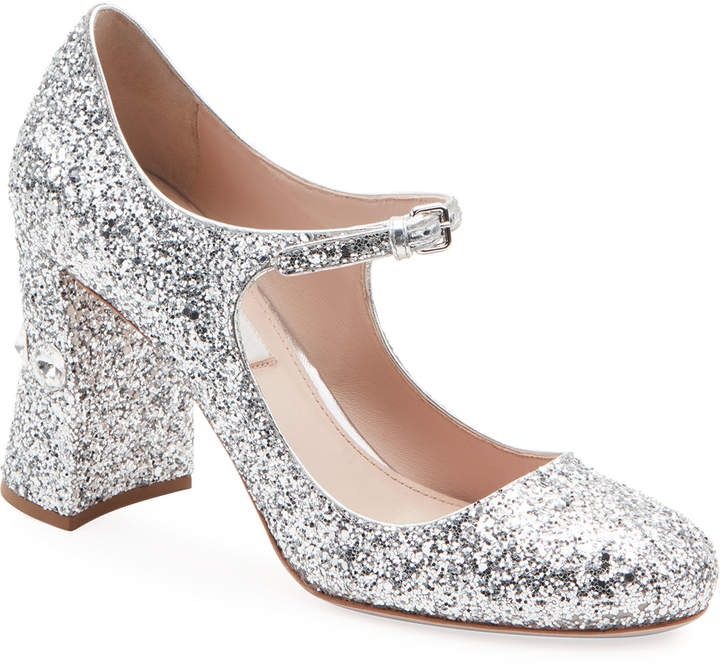 877d38a8a1e Glittered Crystal-Heel Mary Jane Pumps