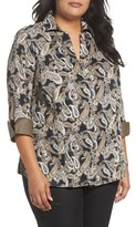 Foxcroft Plus Size Women's Taylor Three-Quarter Sleeve Non-Iron Cotton Shirt