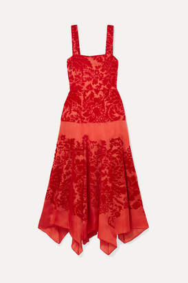 Rosie Assoulin Tiered Devore Silk-organza Midi Dress - US6