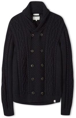 Peregrine Knitted Aran Coat Navy