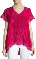 Johnny Was Voi Princess Short-Sleeve Georgette Top, Plus Size