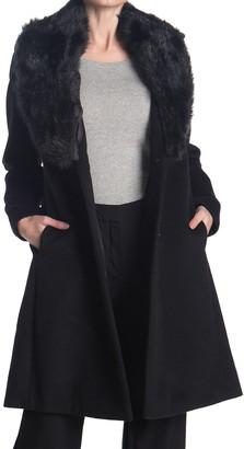 Nine West Faux Fur Shawl Collar Wool Blend Coat