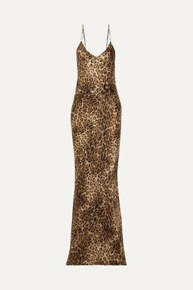 Nili Lotan Leopard-print Silk-satin Maxi Dress - Brown