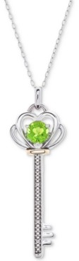"""Macy's Citrine (5/8 ct. t.w.) & Diamond Accent Key 18"""" Pendant Necklace in Sterling Silver & 10k Gold"""