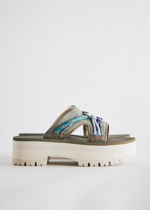 Teva Women's Indio Carabiner Slide in Bobh Shoes, Size 6 | Textile/Leather/Eva