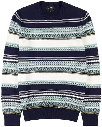 A.P.C. Maxence striped knitted cotton jumper
