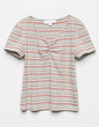 WHITE FAWN Cinch Stripe Girls Coral Top