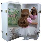 The Queen 18 Inch Doll Furniture, White Clothing Storage Trunk, Vanity, 4 Hangers Fits 2 Dolls
