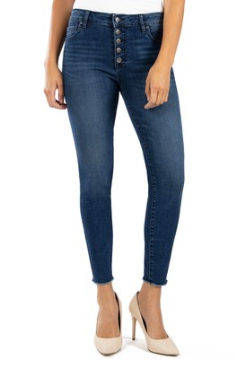 KUT from the Kloth Donna High Waist Button Fly Raw Hem Skinny Jeans