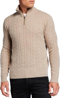 Neiman Marcus Men's Cable Quarter-Zip Sweater w/ Suede Trim