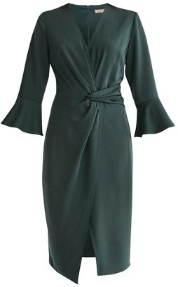 Paisie Satin Dress With Twisted Waist & Flared Cuffs In Dark Green