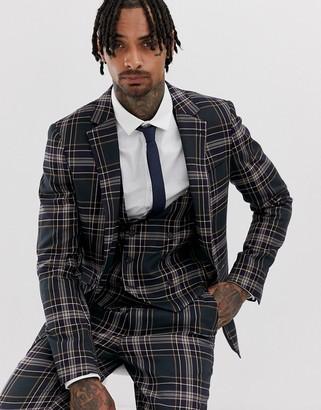 Devils Advocate check skinny fit suit jacket