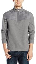 Calvin Klein Men's Long Sleeve Q-Zip Mix Media Pique Fleece Mock Neck