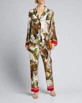 F.R.S For Restless Sleepers Owl Print Straight-Leg Silk Pajama Pants