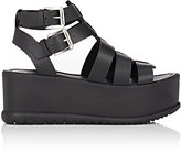 Barneys New York WOMEN'S PLATFORM WEDGE SANDALS-BLACK SIZE 8