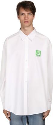 Balenciaga Cocoon Fit Green Logo Cotton Shirt