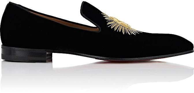 Christian Louboutin Men's Morning Dandelion Velvet Slippers