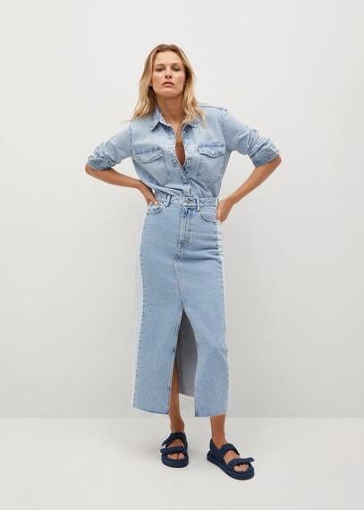 MANGO Contrast denim skirt
