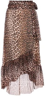 Ganni Leopard-print Stretch-mesh Midi Wrap Skirt