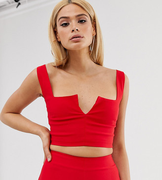 Vesper Tall Vesper plunge front crop top in red co
