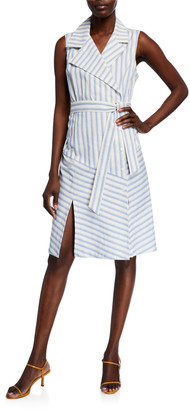 Finley Marni Ticking Stripe Sleeveless Trench Dress