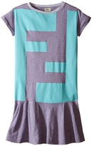 Fendi Short Sleeve Striped Dress with Logo Graphic Girl's Dress
