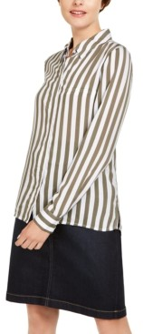 INC International Concepts Inc Striped Button-Down Shirt, Created for Macy's