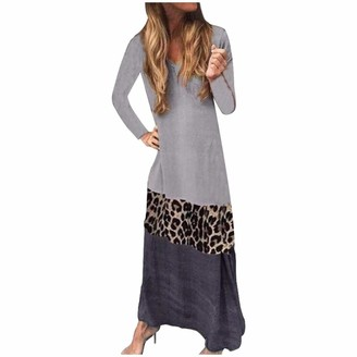 Moent Dresses for Women Casual Party Fashion Womens Leopard Patchwork Long Sleeve Loungewear Comfy Casual Long Dress (Gray-XL)