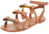 Sophia Webster Samara Flat Bow-Detail Sandal, Tan/Multi