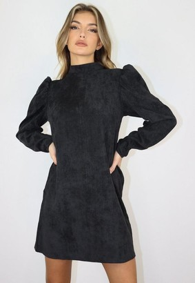 Missguided Black Cord High Neck Shift Dress