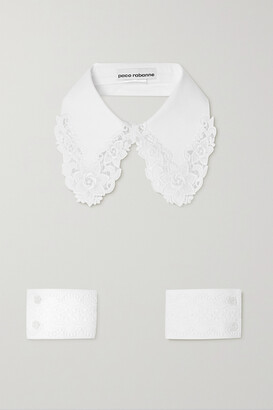 Paco Rabanne Guipure Lace-trimmed Cotton-poplin Collar And Cuffs Set - White